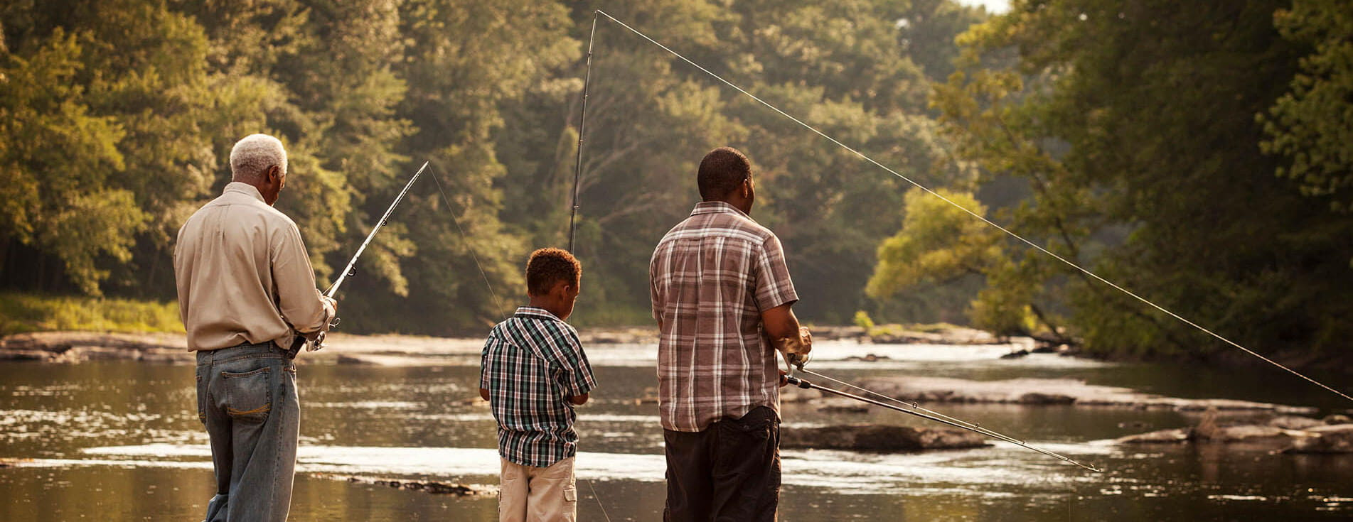 Family fishing together.